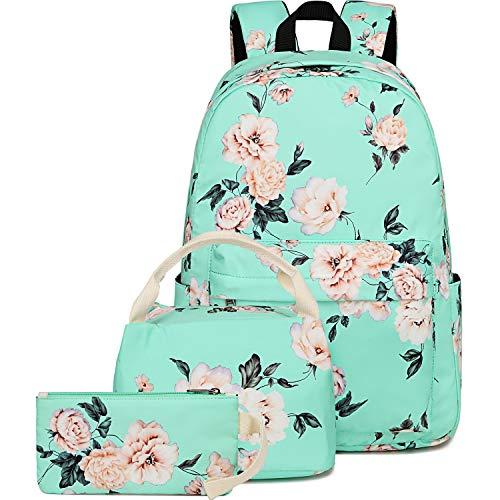 BLUBOON School Backpack Set Teen Girls Bookbags 15 inches Laptop Backpack Kids Lunch Tote Bag Clutch Purse (E0066 Mint Green)