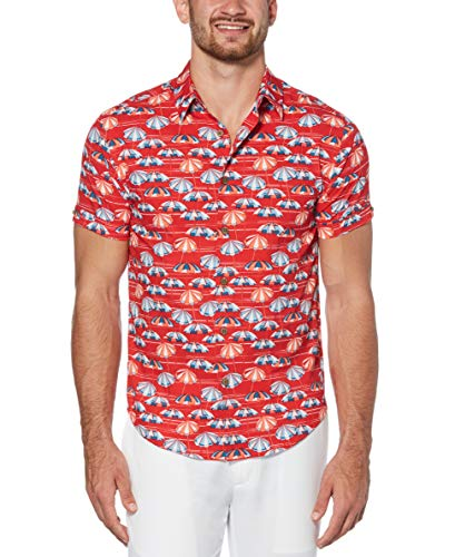 Cubavera Men's Pique Shirt, Tango Red, Large