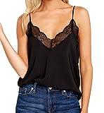 Ritera Damen Sommer Tank Top mit Spitze Design Ärmellose Blusentop Elegant Weste Top Shirt Bluse Oberteile,Schwarz,M