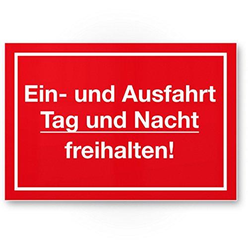 Ein- / Ausfahrt Tag- / Nacht Freihalten Kunststoff Schild (rot, 30 x 20cm), Hinweisschild Einfahrt - auch gegenüber, Parken verboten - Parkverbot, Halteverbot