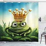ABAKUHAUS König Duschvorhang, Frog Prince auf Moss Stein, Wasser Blickdicht inkl.12 Ringe Langhaltig Bakterie & Schimmel Resistent, 175 x 200 cm, Grün Gelb