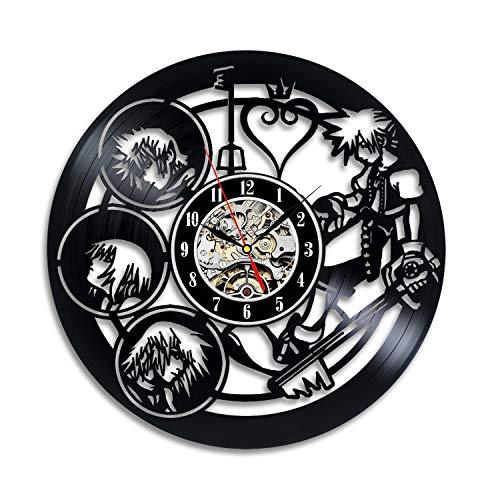 Reloj de pared con diseño de disco de vinilo del cómic Kingdom Hearts –Decora tu hogar con arte moderno de la historia Kingdom Hearts–El mejor regalo para él y ella, novia o novio