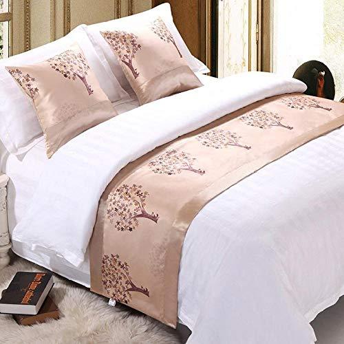 YYSWIM Sängkläder löpare scarf säng flagga europeisk stjärna hotell säng flagga sänghandduk hem enkel och modern sängtäcke & orange röd beige rikt träd @ 50 x 160 cm/1 m bred säng