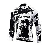 BurningBikewear Uglyfrog Moda Paño Grueso y Suave del Invierno Hombre, Maillot Cortavientos de Ciclismo en Carretera, Jersey de Manga Larga ZRMX02F