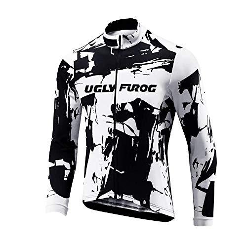 BurningBikewear Uglyfrog Hombres Team Ciclismo Ropa Manga Larga Pantalones Kit Camisa de Secado Rápido Ropa al Aire Libre de la Bicicleta Protector Solar CXMX02F