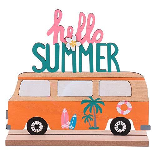 Amosfun Aufsteller Holz Schriftzug Bus Hello Summer Holzschrift Tropischer Stil Desktop Ornament DIY Sommer Frühling Luau Party Hawaiianische Deko Tischdeko Büro Zuhause Dekoration