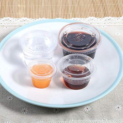 GEGAG 50st Wegwerp Bekers Dozen Met Deksel Voedsel Afhaal Opbergdozen Plastic Voedsel Container, 1oz