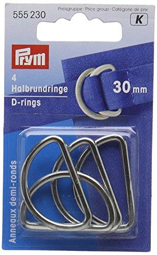 Prym PRYM_555230-1 30 mm D Rings, Silver