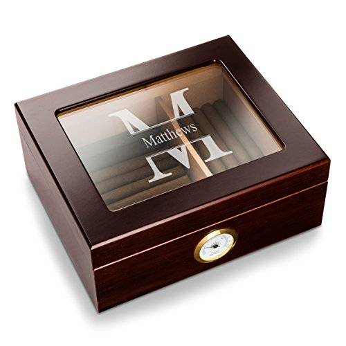 Personalized Humidor Cigar Wooden Box (Stamped Design) - Case Storage for 50 Cigars and with Humidifier, Engraved with Monogram | Birthday and Fathers Day Gift for Him, Dad, Boyfriend, Grandpa