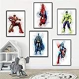 QZROOM Poster und Drucke Marvel Superhelden Aquarell Bilder
