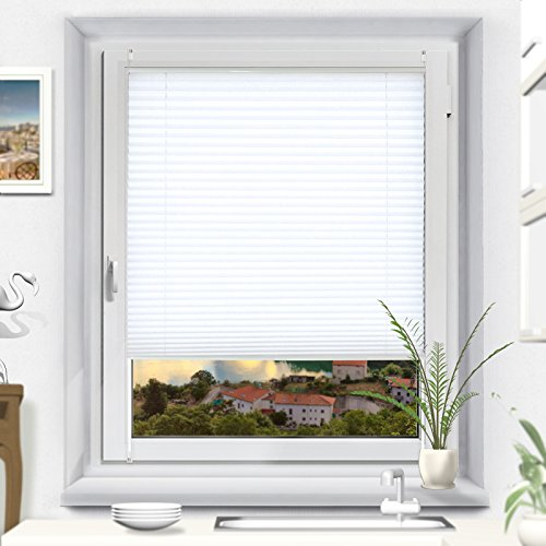 OUBO Plissee Klemmfix Faltrollo ohne Bohren Jalousie mit Klemmträger (Weiß, B35cm x H100cm) Blickdicht Sonnenschutz und Sichtschutz Rollo für Fenster & Tür