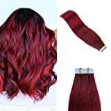 YILITE Colorful Tape in Hair Extensions Remy Human Hair 10pcs 20g Burgundy Tape Hair 16 inches
