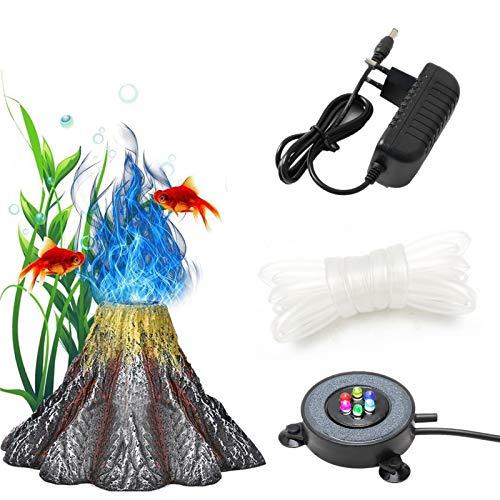 Luz de Burbuja de Pecera de piedra volcánica, Iluminación subacuática para peceras con 6 LED, Kit de decoración de Pecera, IP68 Impermeable Luz LED de Oxigenación Sumergible para Acuarios