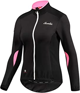 Santic Women Bike Fleece Coat Windproof Reflective Thermal Soft Shell Cycling Winter Biking Jacket