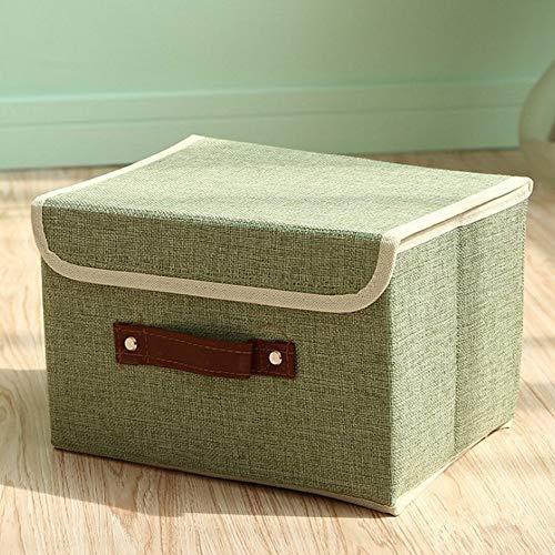 Zoomlie - Cajas de almacenaje con Tapa, contenedor de Tela, para Libros, Juguetes, DVD, Arte y Manualidades, 2 tamaños pequeños, Color café, cartón, Verde, Small