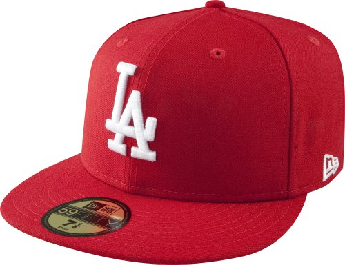 New Era MLB Basic LA Dodgers 59 Fifty Fitted - Gorra para Hombre, Color Rojo (Scarlet/White), Talla 7 1/4