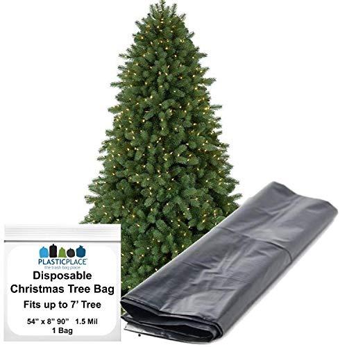 Plasticplace Aufbewahrungstasche für Weihnachtsbaum, für Bäume mit einer Höhe von 2,1 m (1,37 x 20,3 x 228,6 cm), 1,5 ml (schwarz)