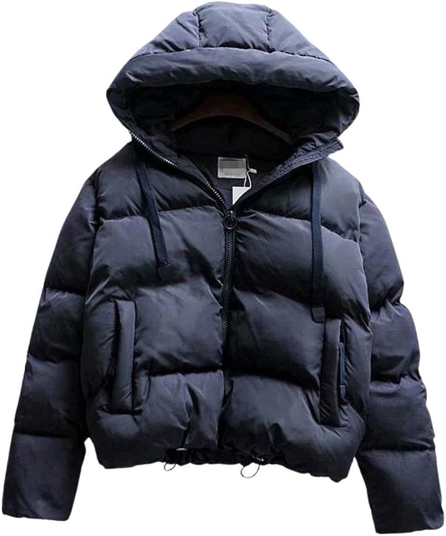 InterNos Women's Hooded Coats Short Padded Puffer Jackets Pockets Cotton Outerwear