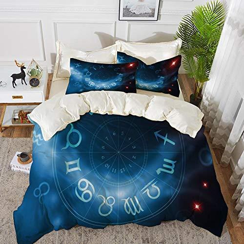 Juego de cama, microfibra,Astrología, signos del círculo del horóscopo Virgo Escorpio Sagitario con telón de fondo abstracto decorati,1 juego de funda nórdica 200 x 2002 fundas de almohada 50x80cm