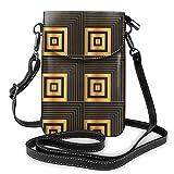 Goxegag Cartera multifuncional de piel para teléfono móvil, bolso de hombro pequeño, bolso de viaje con correa ajustable, estilo art deco, geométrico, cuadrados, oro negro