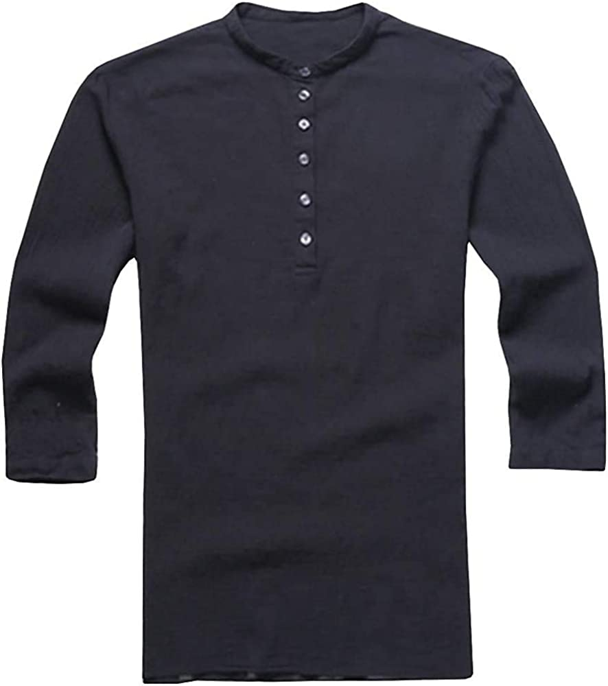 Mens Baggy Cotton Linen 3/4 Sleeve Button Henley Retro V Neck T Shirts Tops