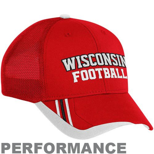 Wisconsin Badgers Adidas Red calciatore strutturato mesh Back Flex Hat, Uomo, Red