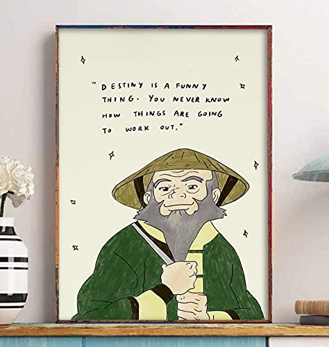 Destiny Is A FunnyThing Poster, Uncle Iroh Quote Poster, Avatar Poster, Iroh Poster, Wall Art Poster Unframed & Canvas Framed