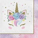 Creative Party PC343831 Lot de 16 serviettes en papier Motif licorne Motif floral