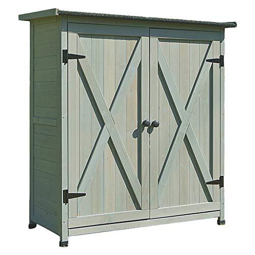 YCDJCS Garden Cabinets Outdoor Wooden Waterproof Sunscreen Storage Cabinet Home Balcony Tool Storage Cabinet Garden Accessories (Color : Gray, Size : 110 * 55 * 118 cm)