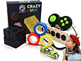 Sensory Fidget Handheld Mini Toy Set, Stress Relief Fidget Box Toys Pack for Adults Kids, Magnetic Fidget Rings, Infinity Cube, Flippy Chain, Calming Toys for ADHD Autism Anxiety(4 Pack)