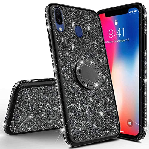 JAWSEU Compatible avec Samsung Galaxy M20 Coque Glitter Paillette Brillant Silicone TPU Case Luxe Mode Diamant Strass Case Bague Stand Holder Cristal Clair Flexible Souple Gel Bumper Case,Noir
