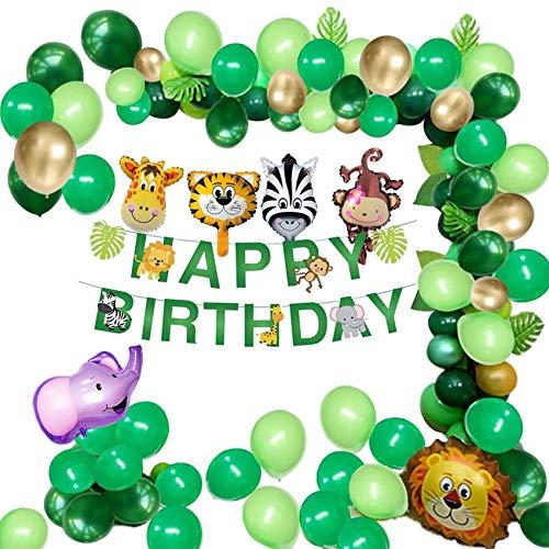 132pcs Geburtstag Dschungel Dekorationen Junge Kindergeburtstag Deko Safari Dschungel Geburtstags Deko Set mit Palmblättern Luftballons unden Geburtstag Safari Wald Tier für Kinder Kindergartsdeko