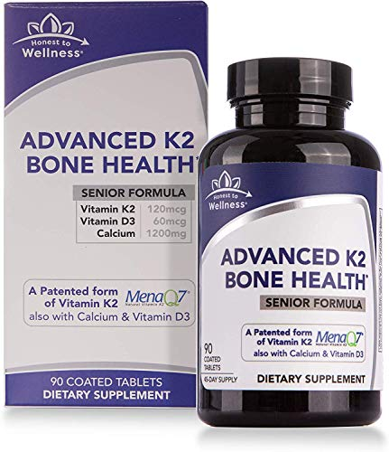 Vitamin D3 & K2 (MK7) with Calcium - Advanced Bone Health Supplement - Bone Density & Strength Support by Honest To Wellness for Cardiovascular Health – 90 Count (Senior)