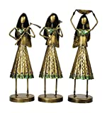 Material: Metal Colour: Gold Dimensions (L x W x H): 10 cm x 10 cm x 10 cm Number of Items: 3 Package Contents: 3 Indian Village Working Ladies Figurines