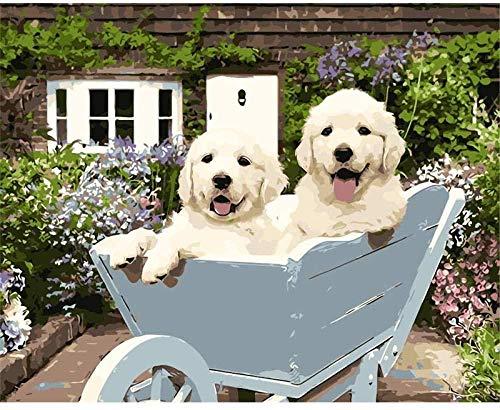 punto de cruz con tela estampada-Cochecito para cachorros de animales-Kits de bordado para principiantes, niños y adultos con patrón impreso de 11 quilates -40x50cm