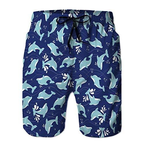 Xunulyn Quick Dry Herren Strandshorts Surfen Schwimmen mit Taschen Delfine Muster Spritzblasen dunkelblauer Hintergrund perfekte Tapete Geschenkpapier Kinder farbig