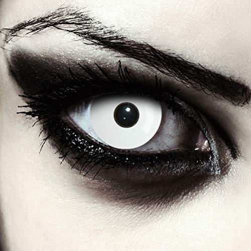 Weiße farbige Zombie Kontaktlinsen für Halloween Kostüm komplett in weiß, 2 Stück, Designlenses, Model: Whiteout + gratis Kontaktlinsen Behälter