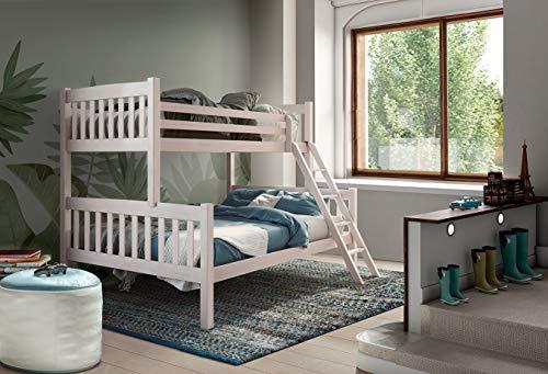 Venprodin - Letto matrimoniale a castello per bambini, letto a castello triplo in legno massello, da 190 x 90/190 x 135 cm, colore: bianco
