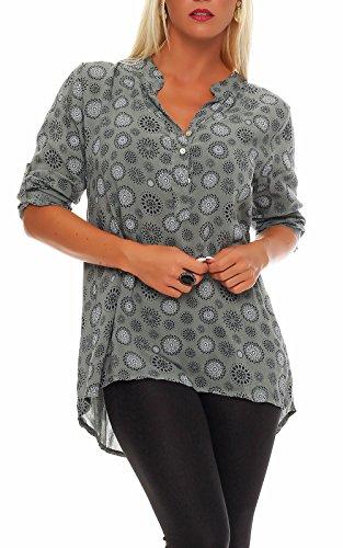 Malito Damen Bluse mit Print | Tunika mit ¾ Armen | Blusenshirt auch Langarm tragbar | Elegant - Shirt 6703 (Oliv)