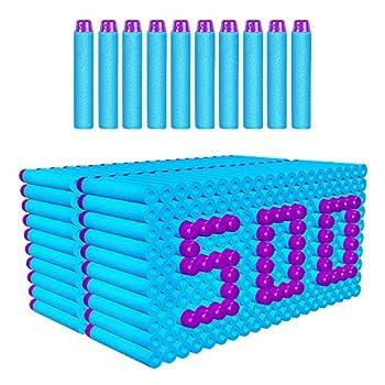 AMOSTING Refill Darts 500pcs Bulk Bullets Ammo Pack for Nerf Fortnite N-Strike Elite Strike Series Guns - Blue 500baby Blue
