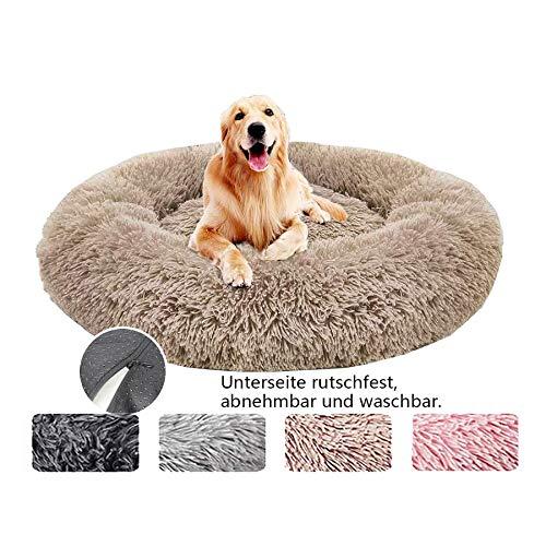 Deluxe weich Hundebett, Sofa waschbar, Rundes Plüsch Hundekissen Katzenbett in Doughnut-Form für große und extra große Hunde - Khaki Ø 120cm