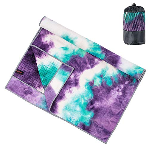 adorence Non Slip Yoga Towel (Upgraded PVC Grippies+Side Pockets) Microfiber Sweat...