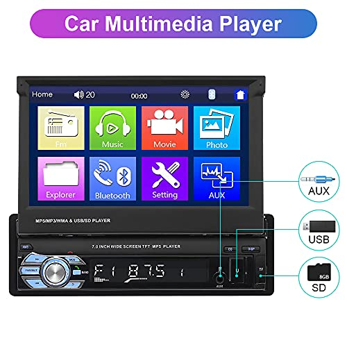 Hikity Single Din Car Stereo 7 Inch Flip Out Touch Screen Car Radio with GPS Navigation Supports Bluetooth Hands-Free FM Radio Mirror Link+ Backup Camera & 8G Map Card
