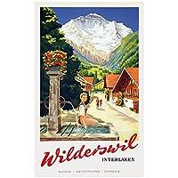 zkpzk スイスベルン観光ポスターヴィルダースヴィルインターレーケンクラシックウォールアートワークキャンバス絵画ヴィンテージポスターホームバーの装飾ギフト-50X70Cmx1フレームなし