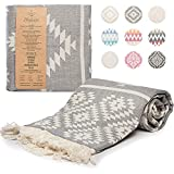 """Turkish Towels Beach Towels Oversized (35""""x67"""") Beach Towels for Adults Quick Dry and Sand Free Beach Towel Beach Blanket 100% Cotton Turkish Towel - Vintage Dark Grey"""