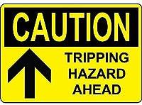 注意トリッピングハザードブラック黄色の壁にブリキのサイン金属ポスターレトロなプラーク警告サインヴィンテージ鉄の絵画の装飾オフィスの寝室のリビングルームクラブのための面白いハンギングクラフト