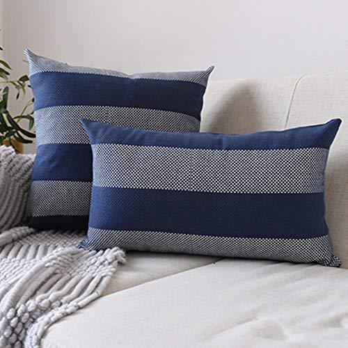 MZW Retro Plaid Navy Cushion Cover Strip Pillow Case for Home Sofa Bed Zip Open Home Decorative,Deep Blue Strip,45x45cm