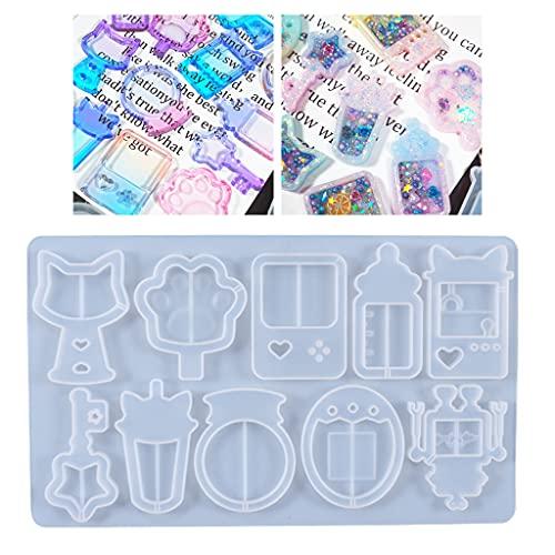 Boji Molde de silicona resina epoxi, 1 pieza de arenas movedizas de cristal epoxi forma colgante silicona DIY artesanía joyas decoración herramienta de fundición silicona molde de cristal resina epoxi