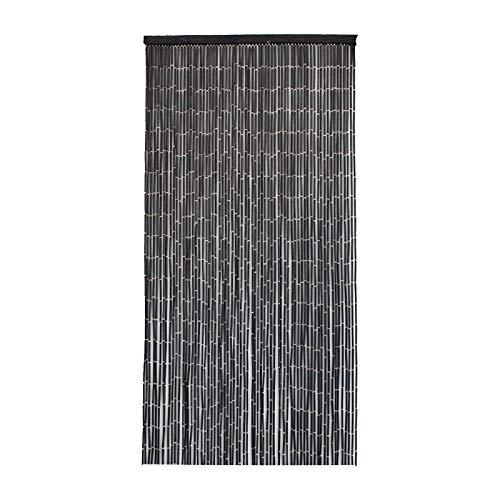 Smartfox Türvorhang Bambusvorhang Bambustürvorhang Raumteiler mit 65 Strängen in der Größe 90x200cm in Schwarz