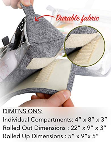 51vJB3APSeL - Hanging Roll-Up Makeup Bag / Toiletry Kit / Travel Organizer for Women - 4 Removable Storage Bags - Organize Make Up, Cosmetics, First Aid, Medicine, Personal Care, Bathroom, Palette / Brush Holder